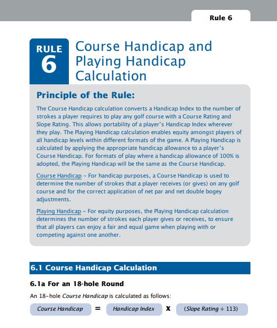 Course Handicap Index